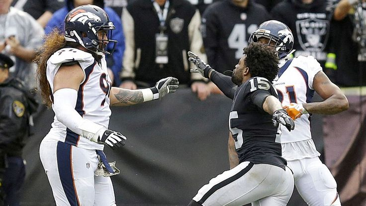 Broncos CB Aqib Talib and Raiders WR Michael Crabtree -- who have had tense moments together in the past -- were both ejected after shoving and punching each other Sunday. Members of both teams joined in, resulting in a sizable sideline scuffle.