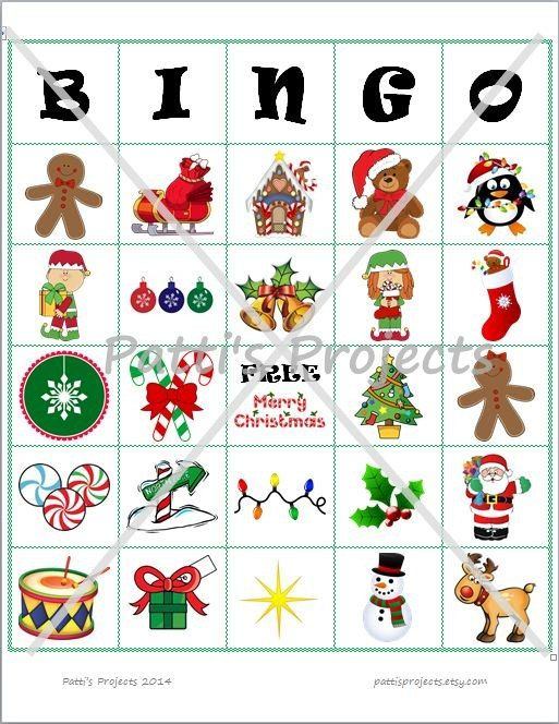 Christmas bingo - downloads available with 10, 20, or 30 different bingo cards.