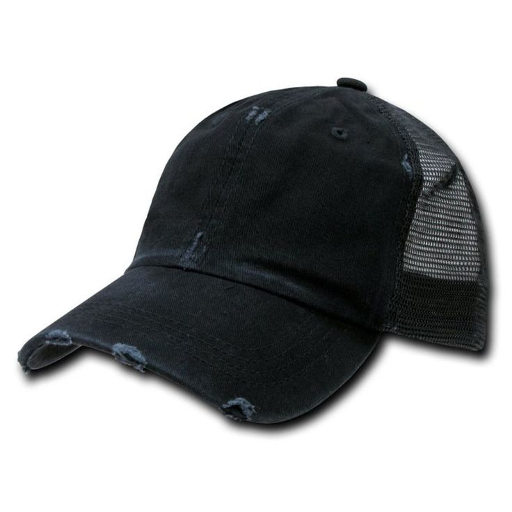 Black Vintage Distressed Mesh Trucker Baseball Cap Caps Hat Snapback Snap Back #Decky #BallCap