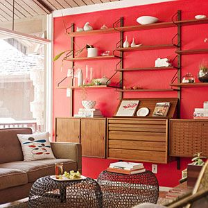 Bright red and warm wood make a strong statement