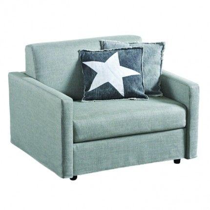 Elegant Twin Sleeper Chair, Grey Linen