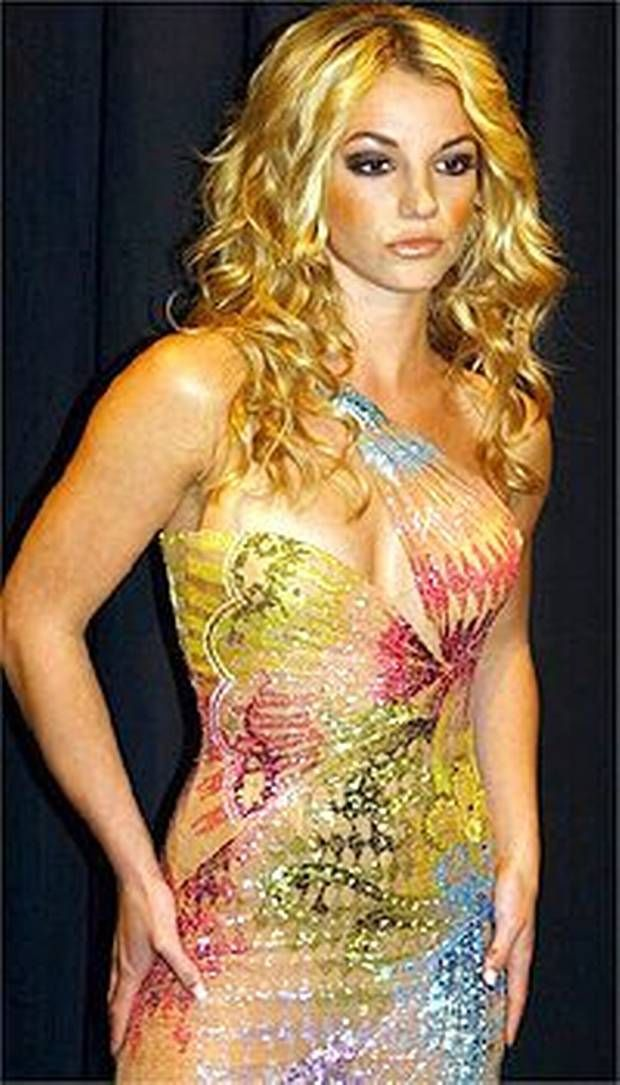 Britney Spears in 2002 wearing a Versace dress from that year's collection.