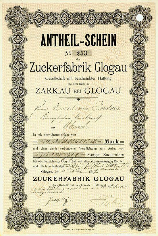 HWPH AG - Historische Wertpapiere - Zuckerfabrik Glogau GmbH Glogau, 26.03.1897, Antheil-Schein über 4.000 Mark, verbunden mit der Verpflichtung zum Anbau von 20 Morgen Zuckerrüben, #253