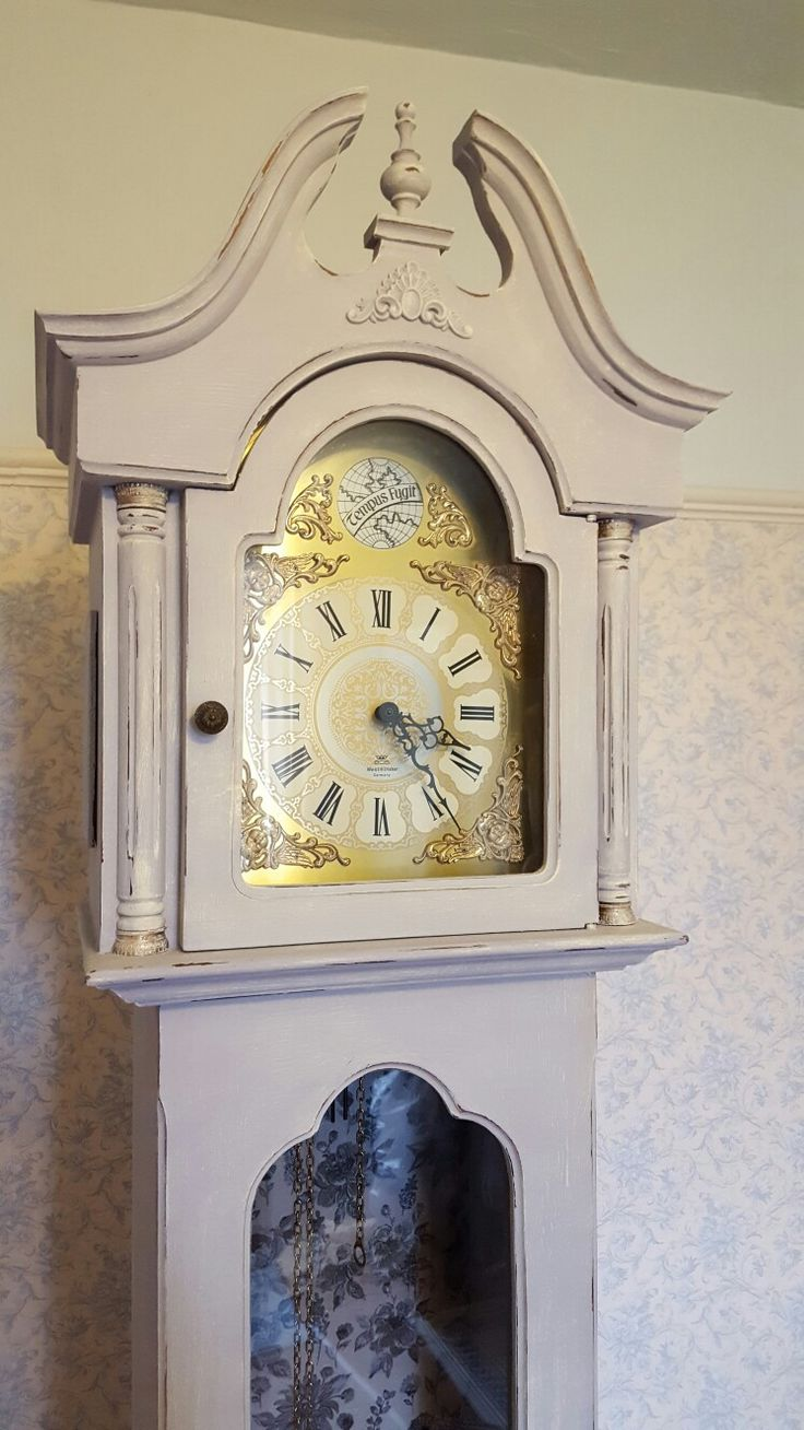 Grandfather clock painted in Autentico warm grey, dried brushed in rose white then clear waxed. Decoupage inside. Hand painted by laura Milner