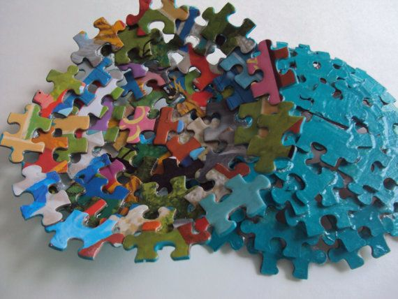 Jewelry Holder made from Jigsaw Puzzle Pieces by SJPuzzles on Etsy, $10.00