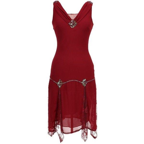 Unique Vintage Burgundy Hemingway Flapper Dress ($128) ❤ liked on Polyvore featuring dresses, short dresses, red dress, vintage dresses, red mini dress, vintage cocktail dresses and red vintage dress