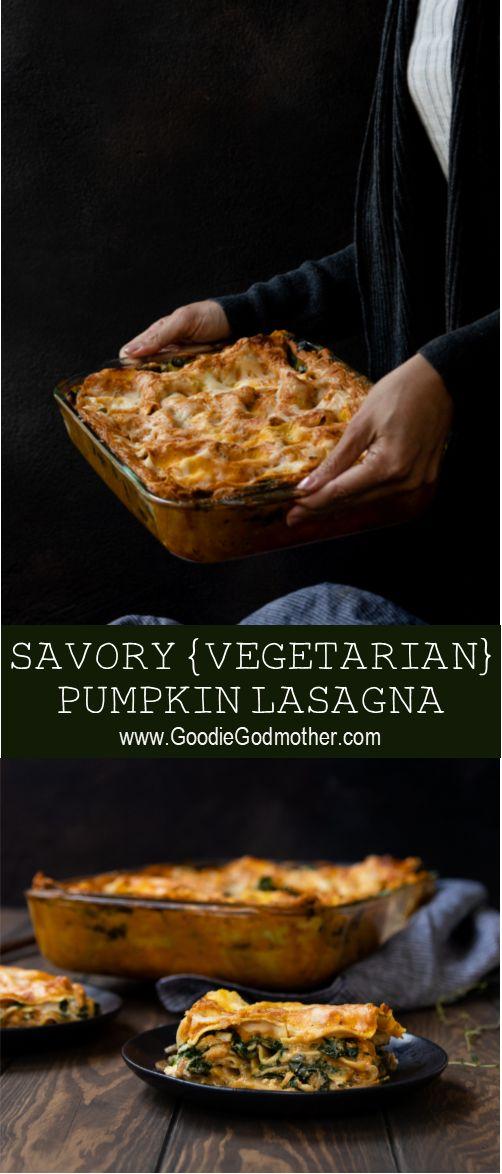 This vegetarian savory pumpkin lasagna makes the perfect vegetarian main dish fo…