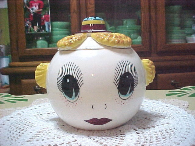 Vintage Ceramic Googly Eyed HEAD COOKIE JAR Royal Sealy ANTHROPOMORPHIC