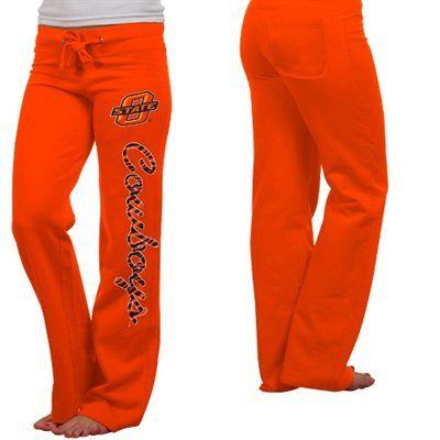 Oklahoma State Cowboys Ladies Animal Print Rugby Fleece Sweatpants - Orange