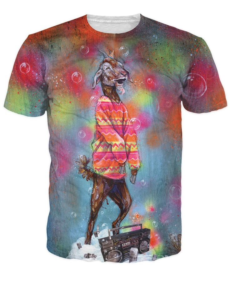 super trippy Party Goat T-Shirt Sick Men tee billy goat hipster rockin out boombox psychedelic shirt Women sexy t shirt tops