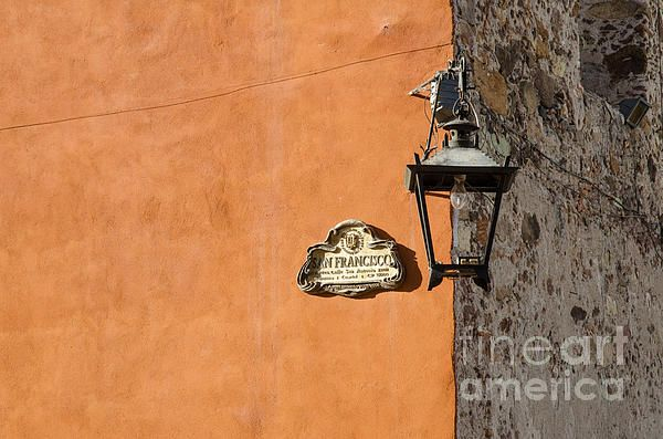 Lamp At The Corner. San Francisco Street, San Miguel de Allende, Mexico. A lamp at the corner of a building where two streets intersect.  Fine Art Photography  http://rob-huntley.artistwebsites.com  © Rob Huntley