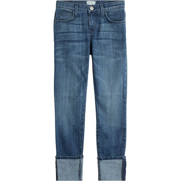 Current/Elliott The Cuffed Skinny Jeans (4 230 ZAR) ❤ liked on Polyvore featuring jeans, bottoms, blue, cropped jeans, current elliott jeans, slim jeans, cuffed cropped jeans and denim skinny jeans