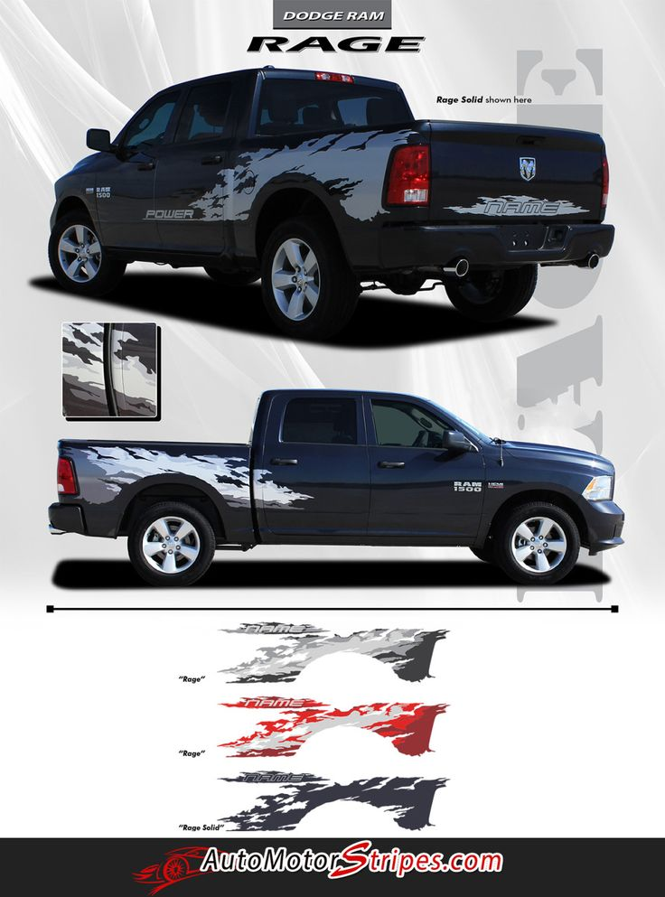 Vehicle Specific Style Dodge Ram Truck RAGE Power Wagon Multi Color Digital Print or Solid Color Bed and Tailgate Vinyl Graphic Stripe Decals Year Fitment 2009