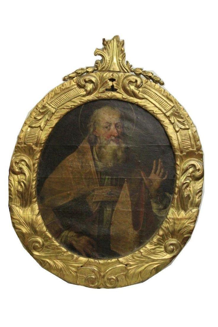 """""""San Biagio"""" Olio su tela applicata su tavola, epoca '600"""