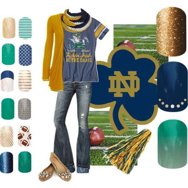 """notre dame and jamberry"" by heidireneem on Polyvore  Shop the nail wraps at http://vintageindiejams.jamberrynails.net"