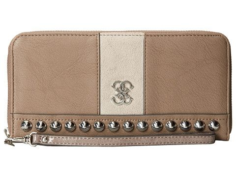 GUESS Knoxville Large Zip Around Light Taupe - 6pm.com