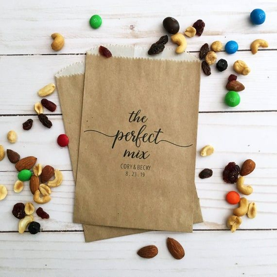 LINED Wedding Trail Mix Favor Bags – Perfect Mix Bags for Weddings – Trail Mix Bar Bags – Rustic Wed