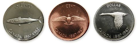 Alex Colville designed the images on the 1967 centennial commemorative Canadian silver dollar, dime and penny