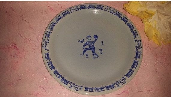 Stavangerflint Norway, Kari Nyquist Blue Hand Painted Plate, Boy, Trains, Norway, Blue White, Childs Plate by JunkYardBlonde on Etsy