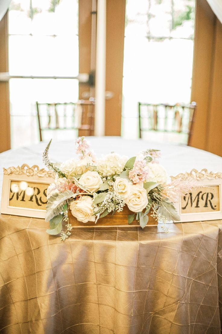 Love the adorable Mr. and Mrs. signs on this couple's sweetheart table for their wedding reception!   Photograph by Hay Alexandra Photography