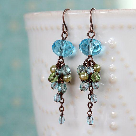 Blue Czech Glass Cluster Earrings Dangle Earrings by YuniDesigns