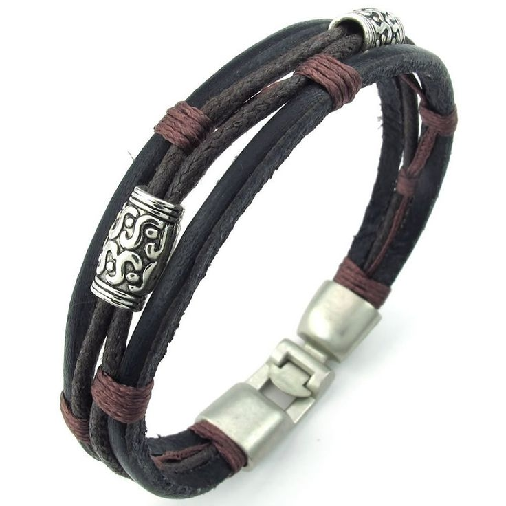 KONOV Jewelry Mens Womens Leather Rope Bracelet, Tribal Braided Cuff Bangle, Brown Black Silver >>> CHECK OUT @ http://www.jewelry.todaysreviews.org/Jewel/100052/?a16r