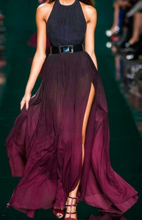 #ombre #dress #fashion #slit #legs #halter #black #maroon