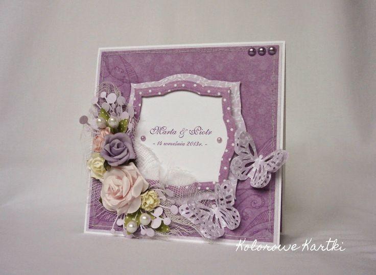 Kolorowe Kartki: Fioletowo na ślub