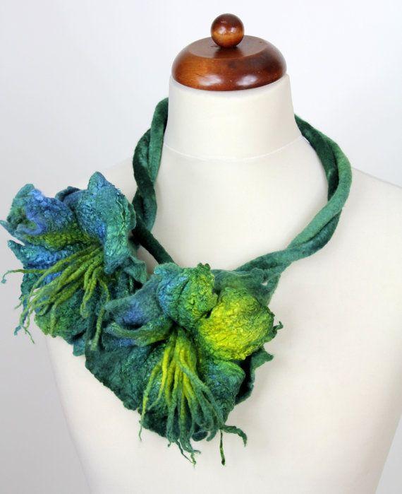 Felt flower felted flowers necklace neckpiece by KateRamseyFelt