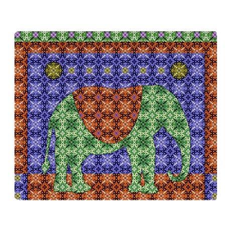 Colorful Elephant Throw Blanket
