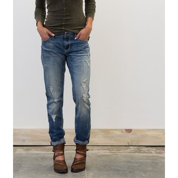 Buckle Black Factory Second Fit No. 256 Jean ($49) ❤ liked on Polyvore featuring jeans, blue, zipper jeans, relaxed fit jeans, boyfriend jeans, destroyed jeans and ripped jeans