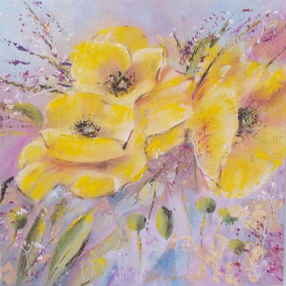 Small Original Flowers Painting Yellowpink by AntigoniArtGallery