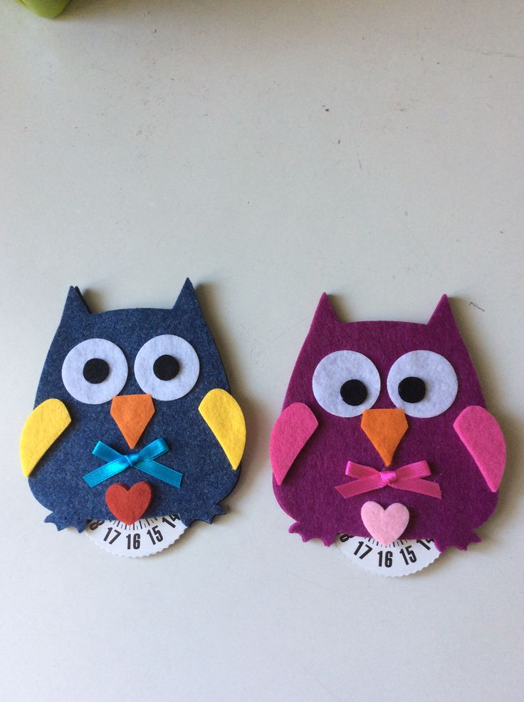 Gufi disco orario in feltro #Owl  >>> [crafts to make and sell]