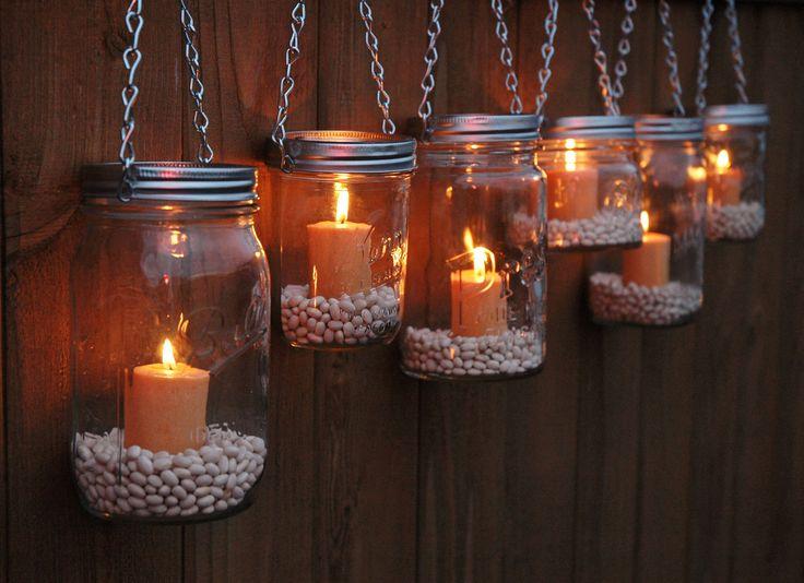 Hanging Mason Jar Garden Lights - DIY Lids Set of 6 Mason Jar Lantern Hangers or Flower Vase Hangers - Silver Chain - Wide Mouth Style