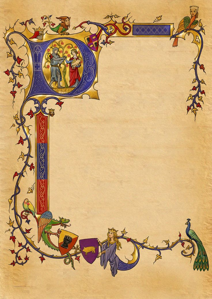 by dashinvaine--  Design for the illuminated capital and marginalia of a medieval-manuscript style wedding invitation. Commissioned piece. The client was supplied with the design on a clear background which they will print on parchment-paper having added the text (not as seen here)