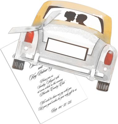 Newlywed Car Die-Cut Invitations: Newlywed Car, Tarjetas Casamiento, Natalie S Reception, Die Cutting, 20S Wedding, Roaring 20S, Car Die Cut