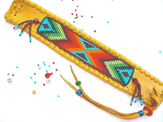 Beaded Deerskin Leather Bracelet Native by TribalVibesLeather, $58.00