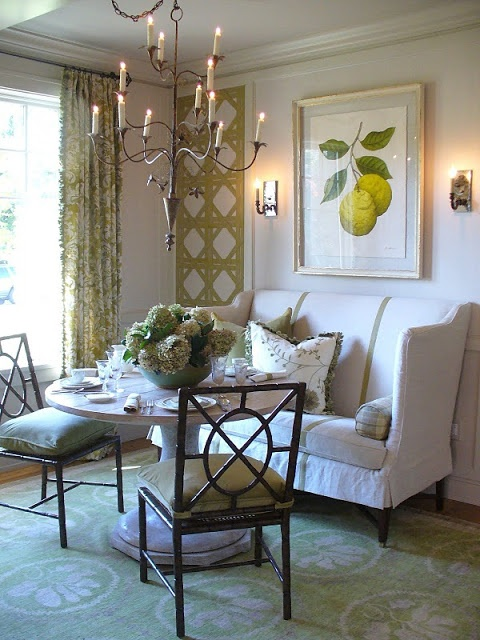 This is a dining room photo but wouldn't this be a great option in a tiny apartment for  a living room?  Really love it. :)) Victoria Neale