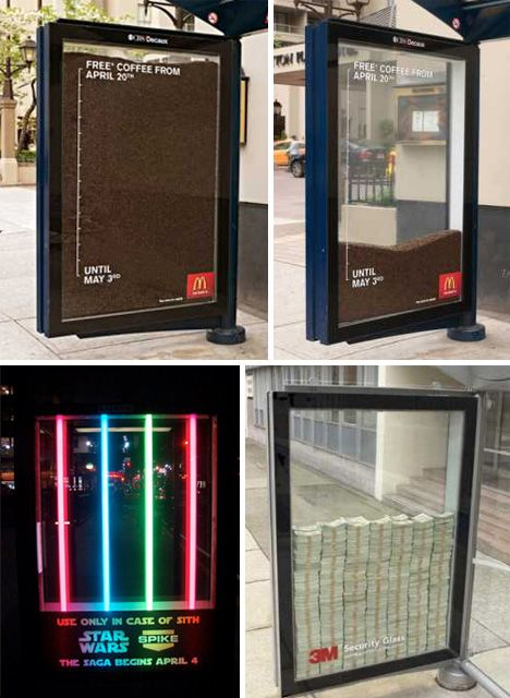 McDonald's showed the deadline of their free coffee offer with a creative experiment in guerilla marketing. Star Wars lightsabers light up one bus stop, while 3M safety glass tempts commuters at another stop.