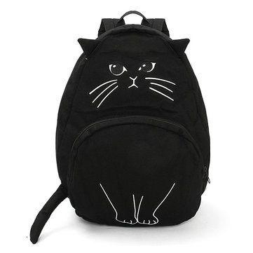 Women Girl Cartoon Cat Canvas Backpack Casual Patchwork School Bag