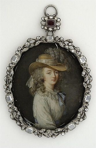 Miniature, Portrait of the Comtesse du Barry, by Lavreince; (inspired byLouise Élisabeth Vigée Le Brun ) Second half of the 18th century. Paris, the Louvre.