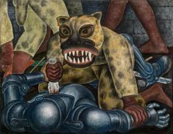 """Guerrero indio"""" (1931), de Diego Rivera El episodio más antiguo en la historia de México al que se refiere Rivera en los tableros realizados para El Museo de Arte Moderno se encuentra en Guerrero indio, que se remonta a la Conquista española a principios del siglo XVI. Un guerrero azteca vestido de jaguar hunde un puñal de obsidiana en la garganta de un conquistador enfundado en su armadura.   tamano: (104.14 x 133.35 cm) Ubicacion: Moma, New York"""