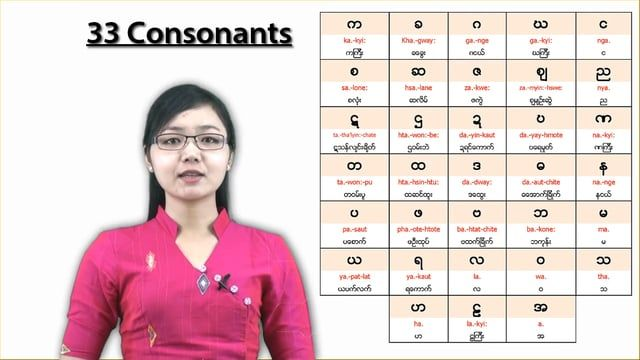 There are 33 consonants in Burmese language and through this first lesson, you will learn how to pronounce the 15 first consonants of the…