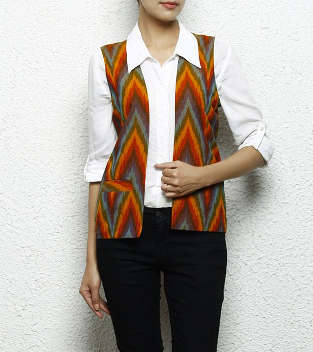 Multicoloured Printed Pure Cotton Waistcoat