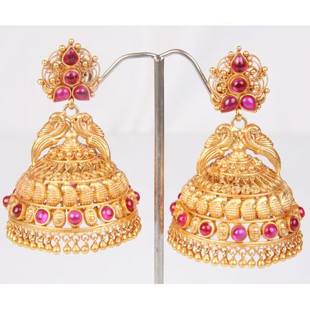 Gold Jhumka Earrings Designs 2013 (