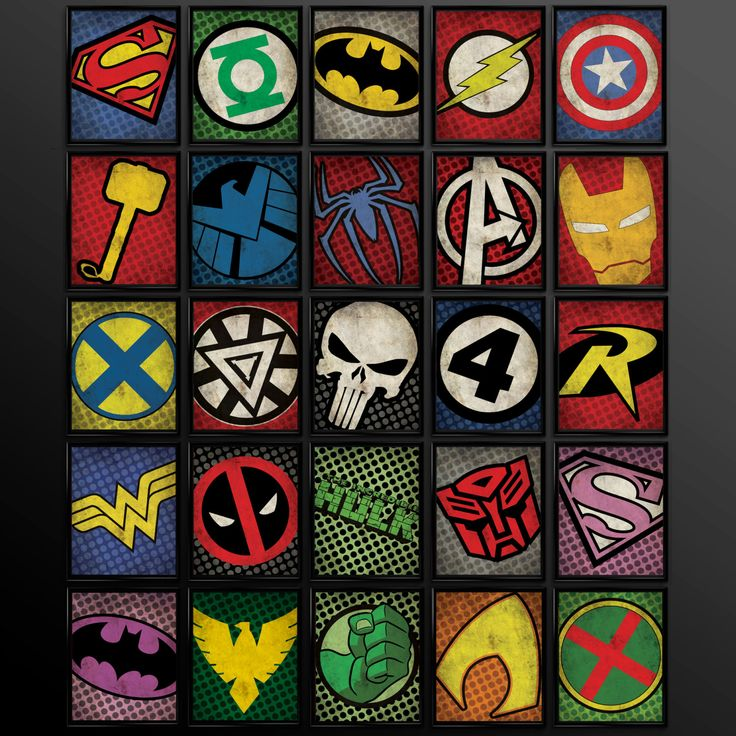 Comic Book Room Ideas: Set Of 8 Superhero Kids Wall Art Decor By