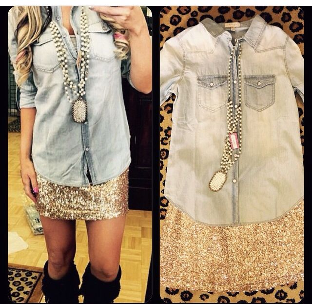 Already have a denim shirt but love this skirt and the necklace with it as well