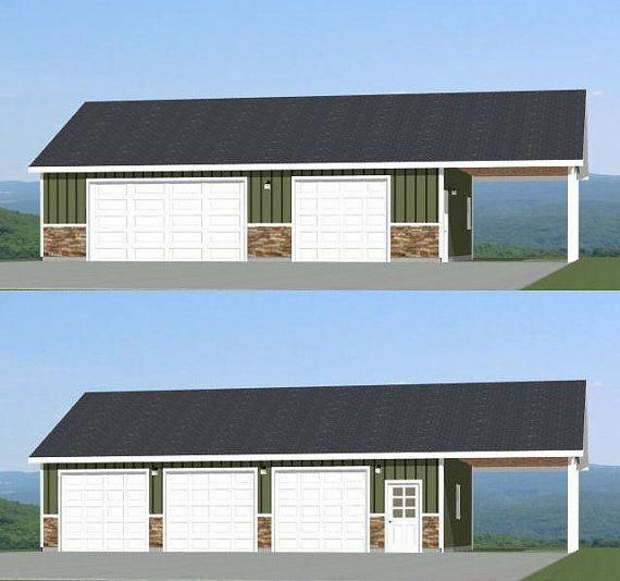 This Is A Pdf Plan Available For Instant Download 40x30 Garage 3 Car Garage With 12 Carport Sq Ft Exterior House Siding Garage Plans With Loft Car Garage