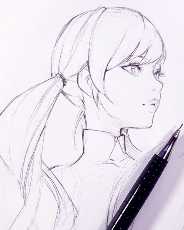 Картинка нарисованного аниме человека