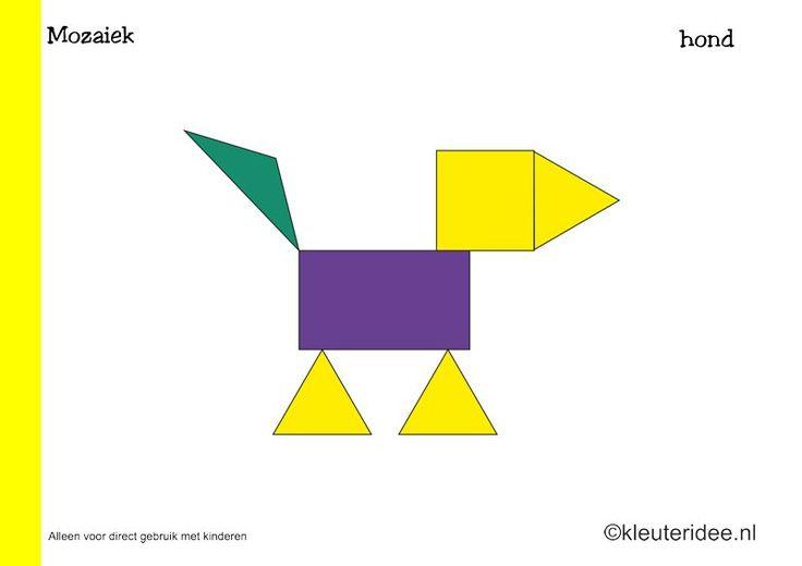 Tien mozaiek voorbeeldkaarten voor kleuters 3, hond, kleuteridee.nl , Preschool mosaic patterns, free printable.